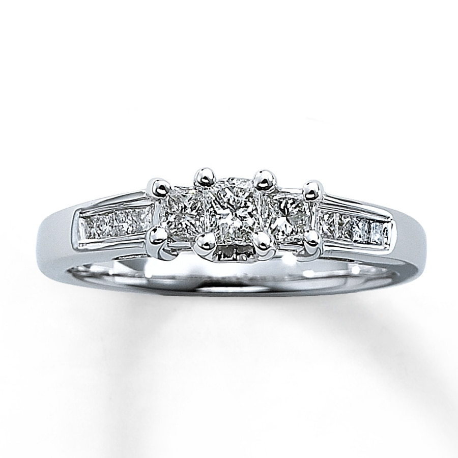 f16302ddd Three-Stone Diamond Ring 1/2 ct tw Princess-Cut 14K White Gold. Tap to  expand