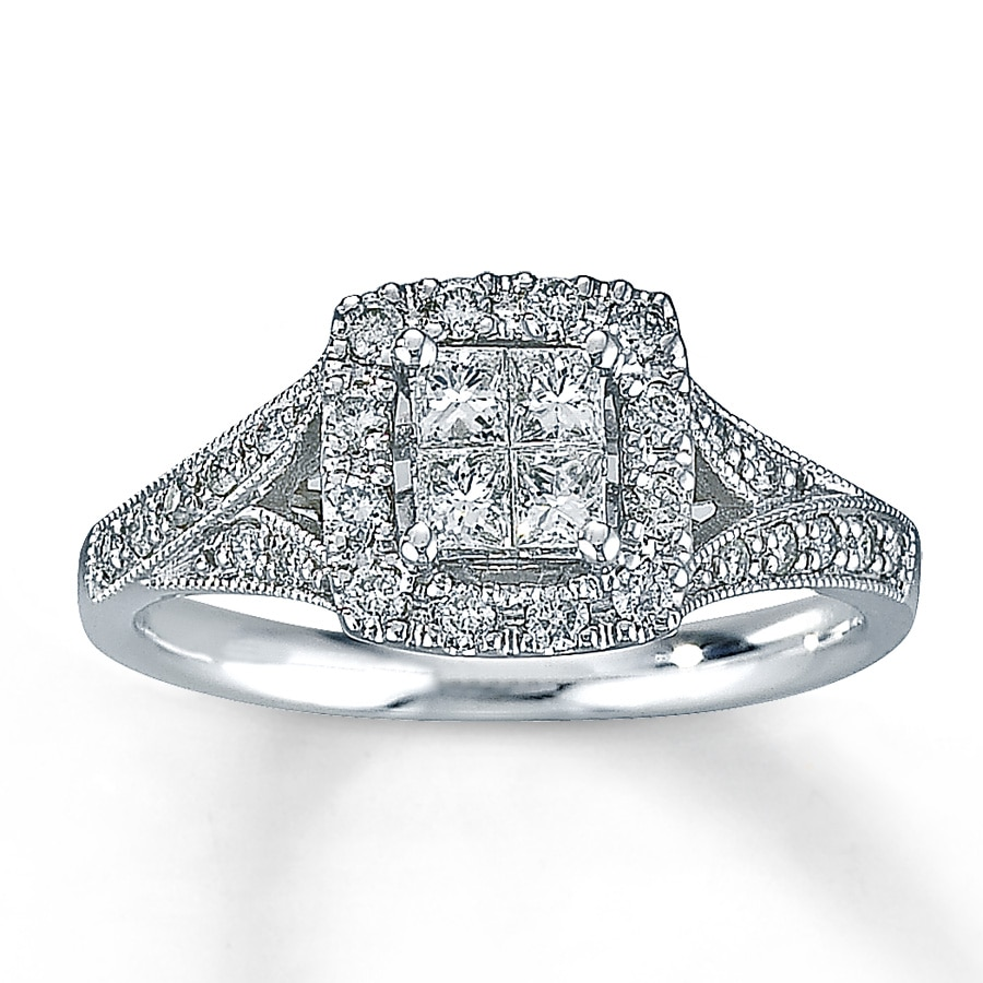 Kay Diamond Engagement Ring 1 2 ct tw Diamonds 14K White Gold