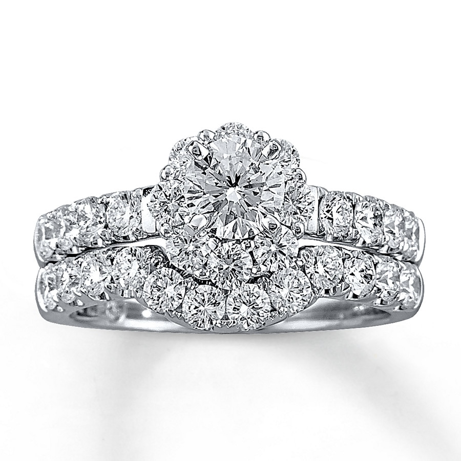 Wedding Rings Kay: Leo Diamond Bridal Set 2 Ct Tw Round-cut 14K White Gold