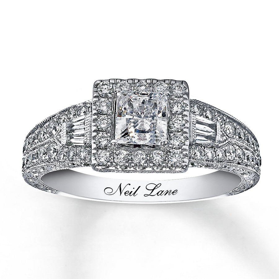 kay - neil lane engagement ring 1 ct tw diamonds 14k white gold
