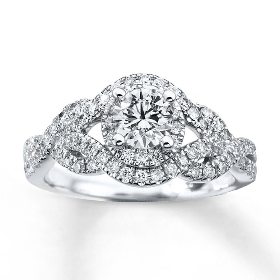 Diamond Engagement Ring 1 ct tw Round-cut 14K White Gold - 990677508 ...