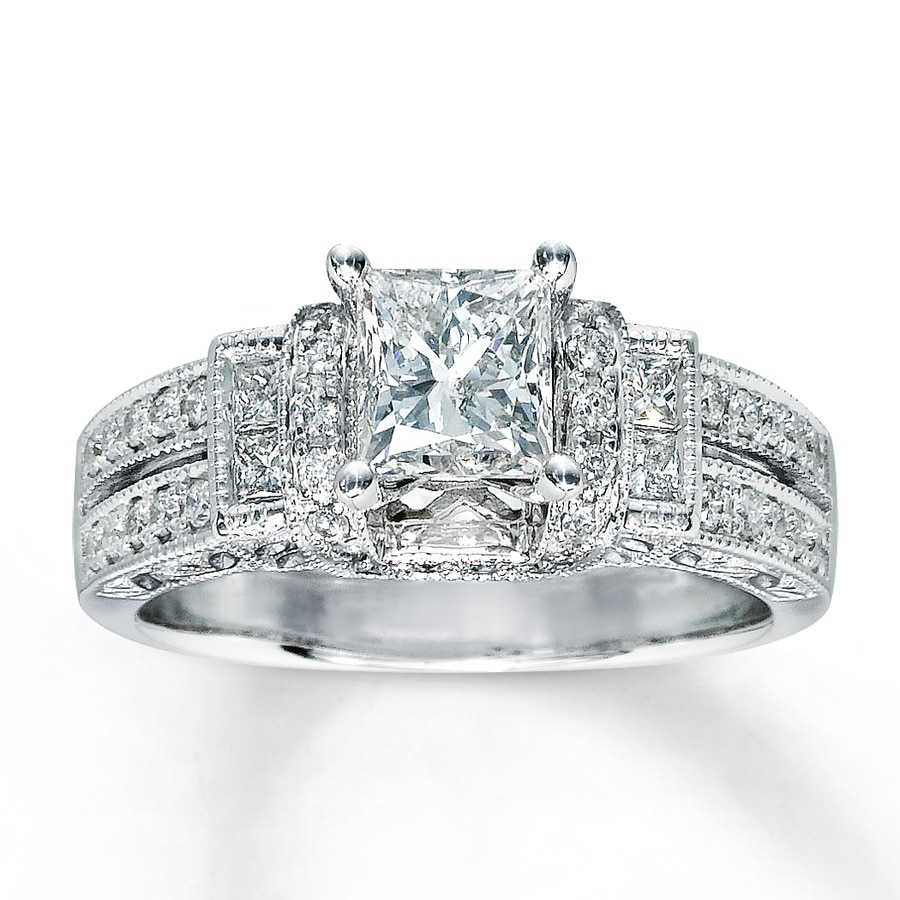 hover to zoom - White Gold Princess Cut Wedding Rings
