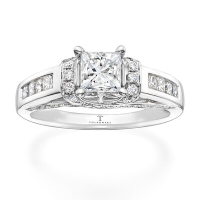 Tolkowsky Engagement Ring 1-3/8 ct tw Diamonds 14K White Gold