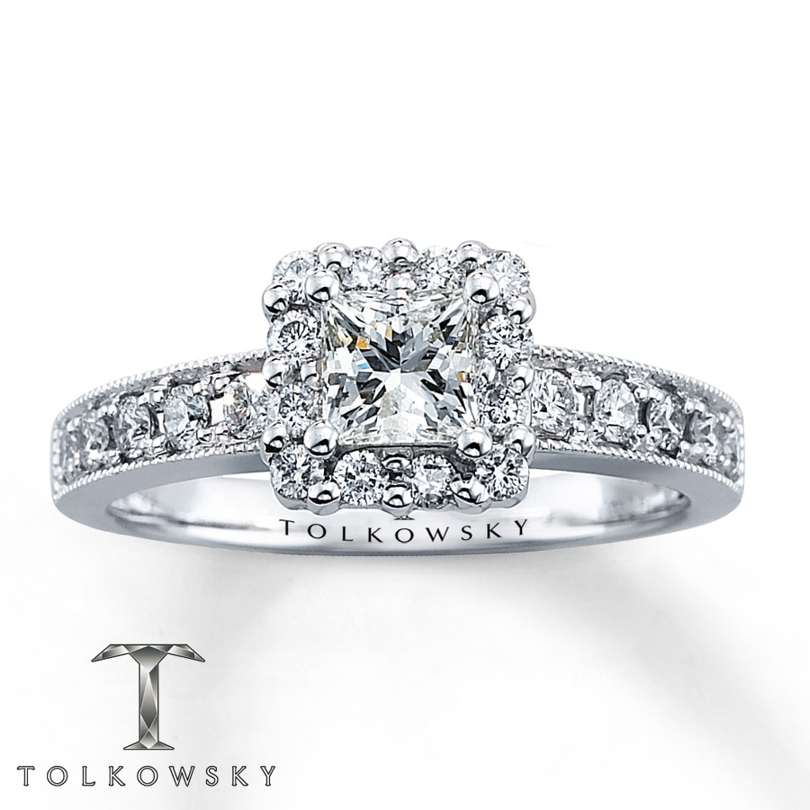 Kay Tolkowsky Engagement Ring 7 8 ct tw Diamonds 14K White Gold