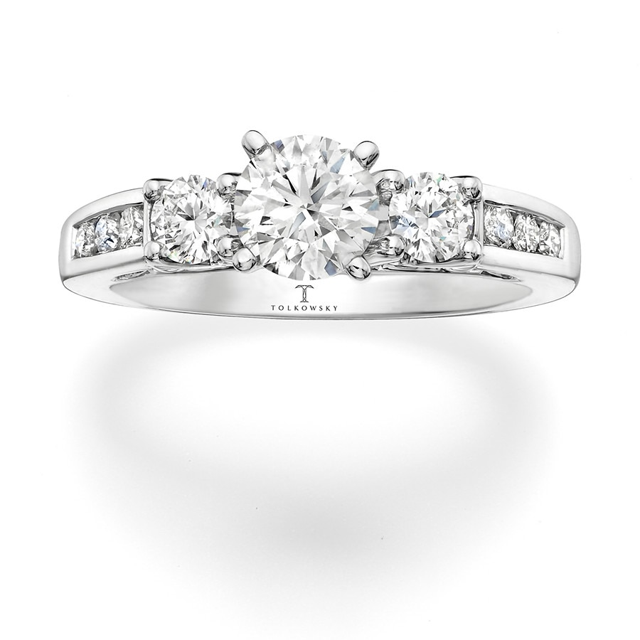 Tolkowsky Engagement Ring 3/4 ct tw Diamonds 14K White Gold