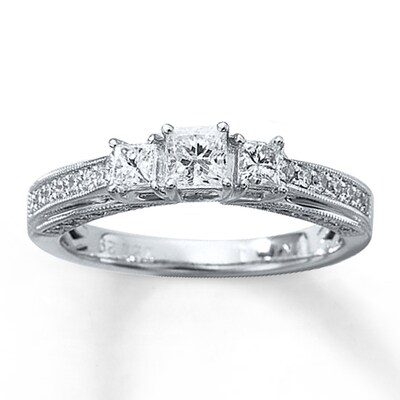 Three-Stone Diamond Ring 7/8 ct tw Princess-cut 14K White Gold Kay Jewelers