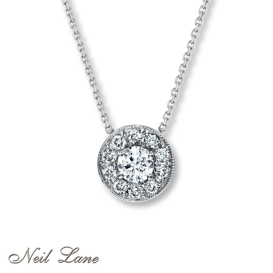 Kay diamond necklace 34 ct tw round cut 14k white gold hover to zoom mozeypictures Image collections