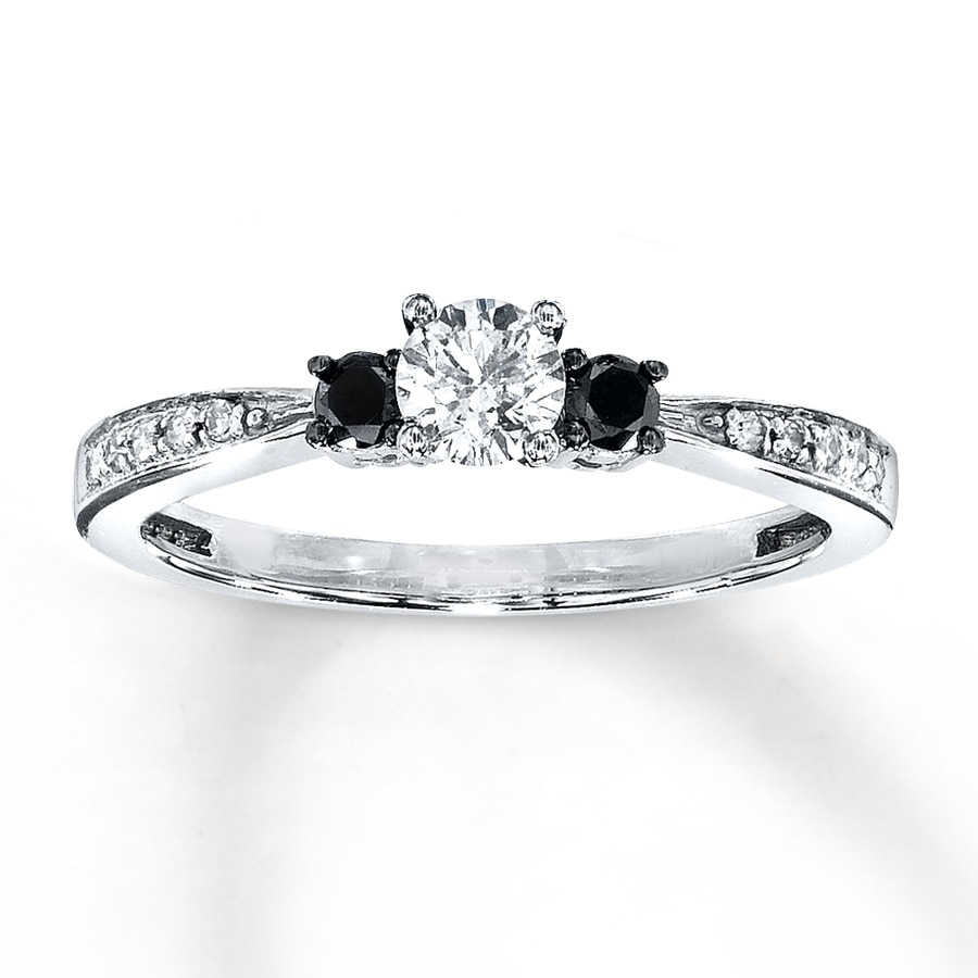 Black White Diamond Engagement Ring 3 8 Ct Tw 10k White Gold