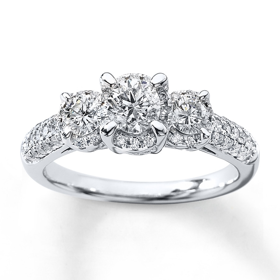 image brilliant jewellery cut stone diamond three ring white gold bridal rings