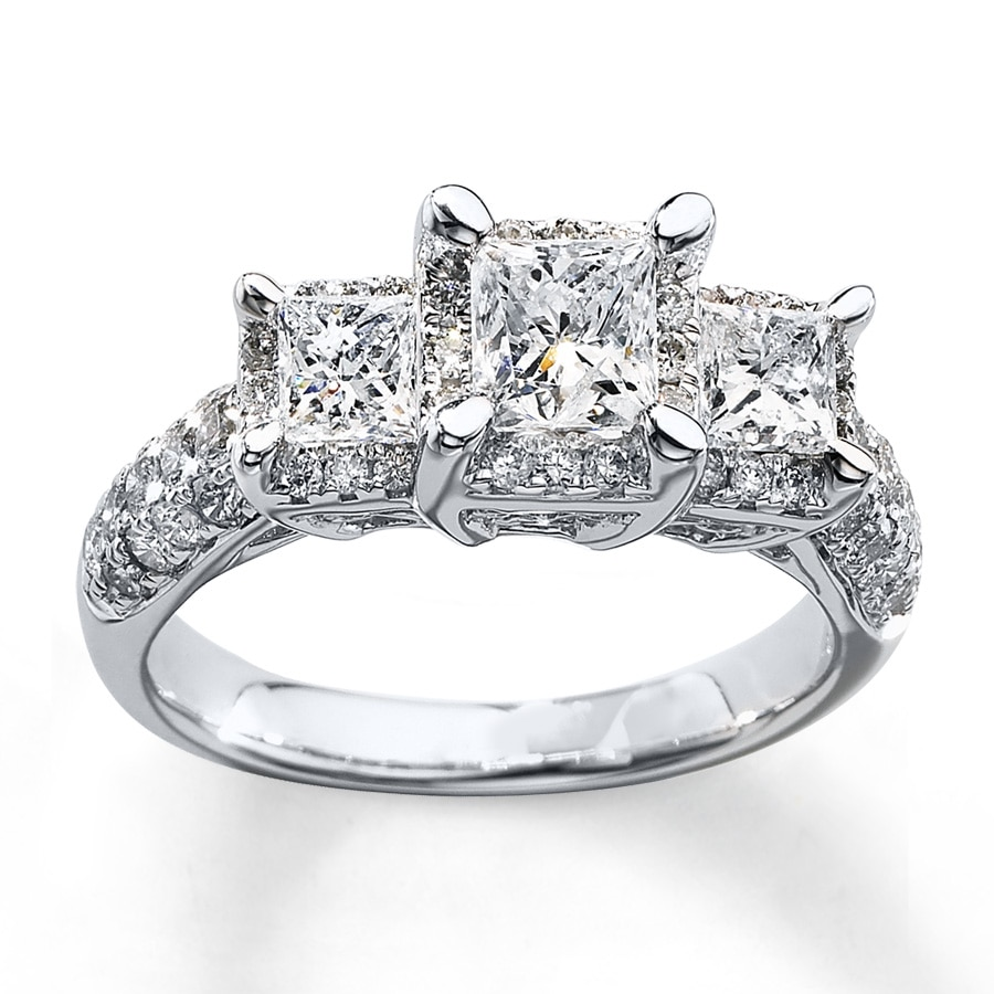 kay - 3-stone diamond ring 2 ct tw princess-cut 14k white gold