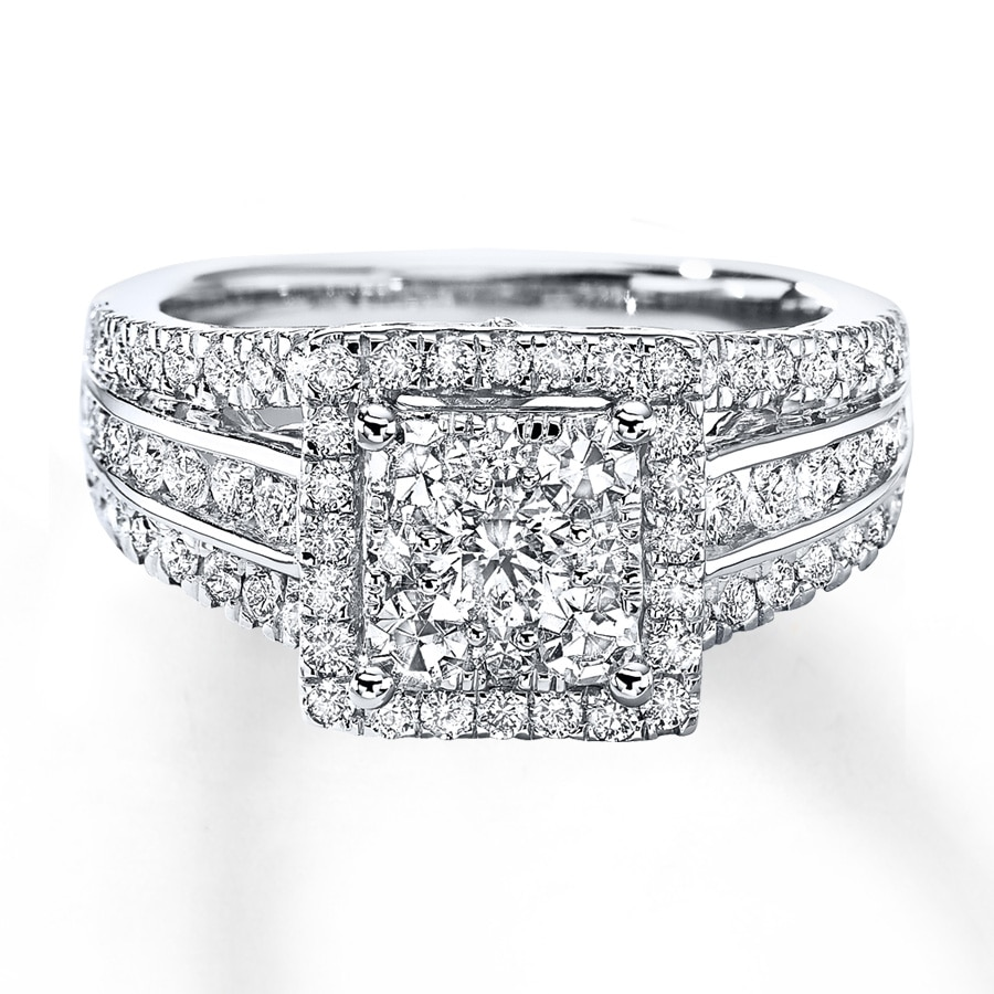 kay - diamond engagement ring 1-1/2 cts tw round-cut 14k white gold