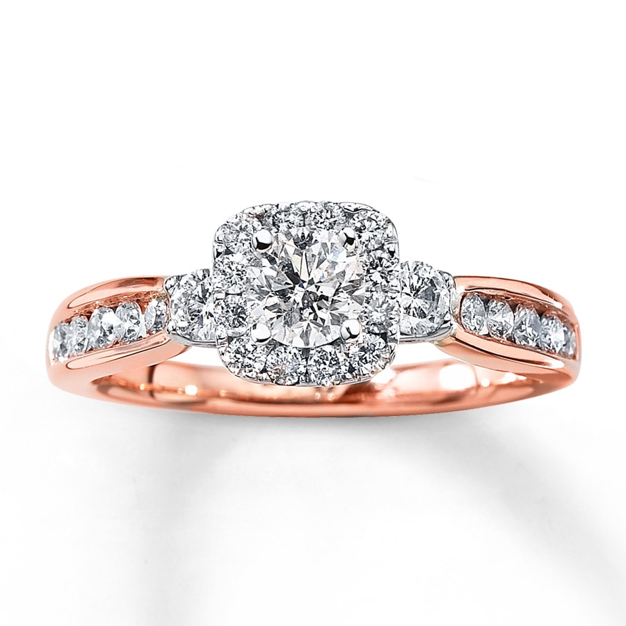 diamond engagement ring 1 ct tw round cut 14k rose gold rose gold wedding rings Hover to zoom