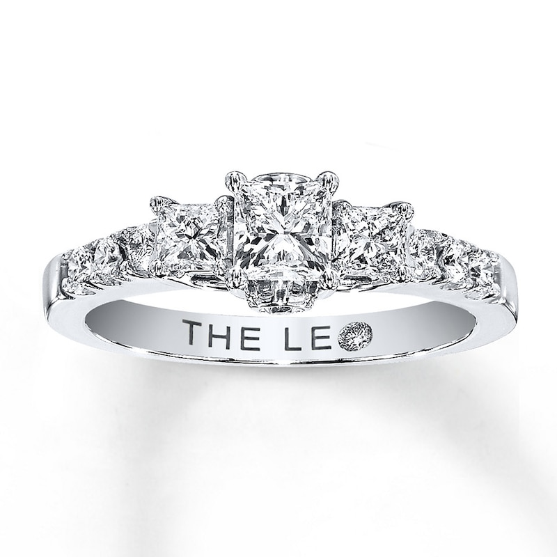 Leo Engagement Ring 7 8 Ct Tw Diamonds 14k White Gold 3 Stone