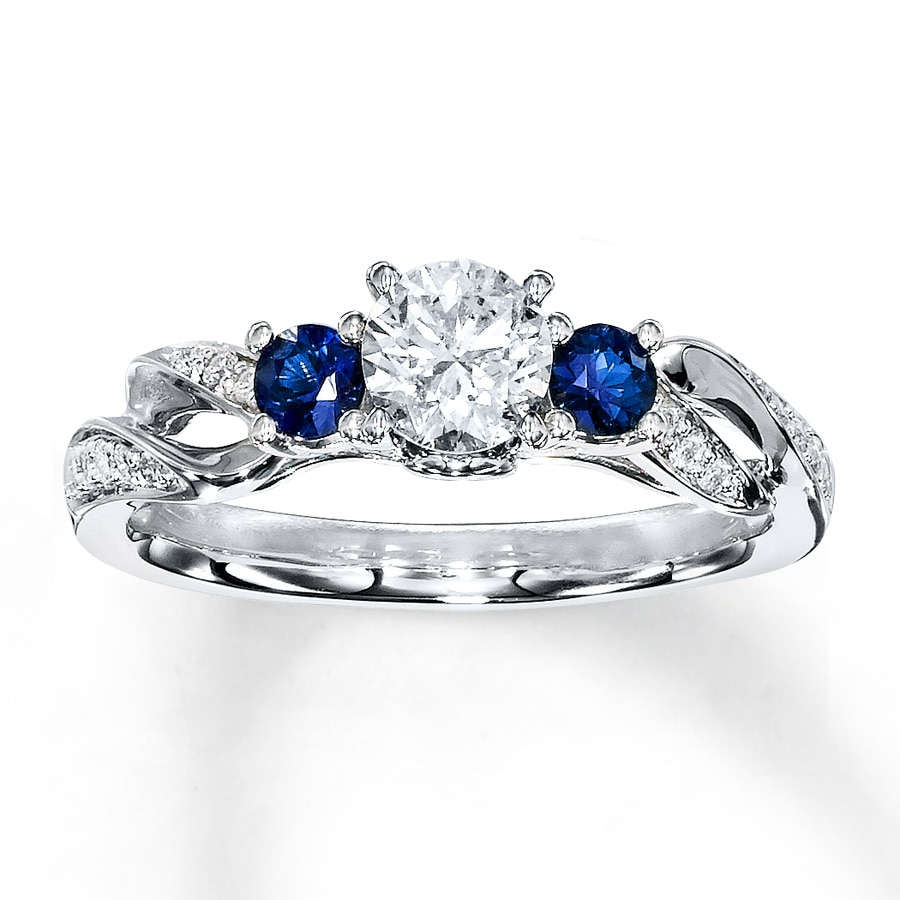 cluster art engagement sapphire ring deco diamond filigree bands platinum