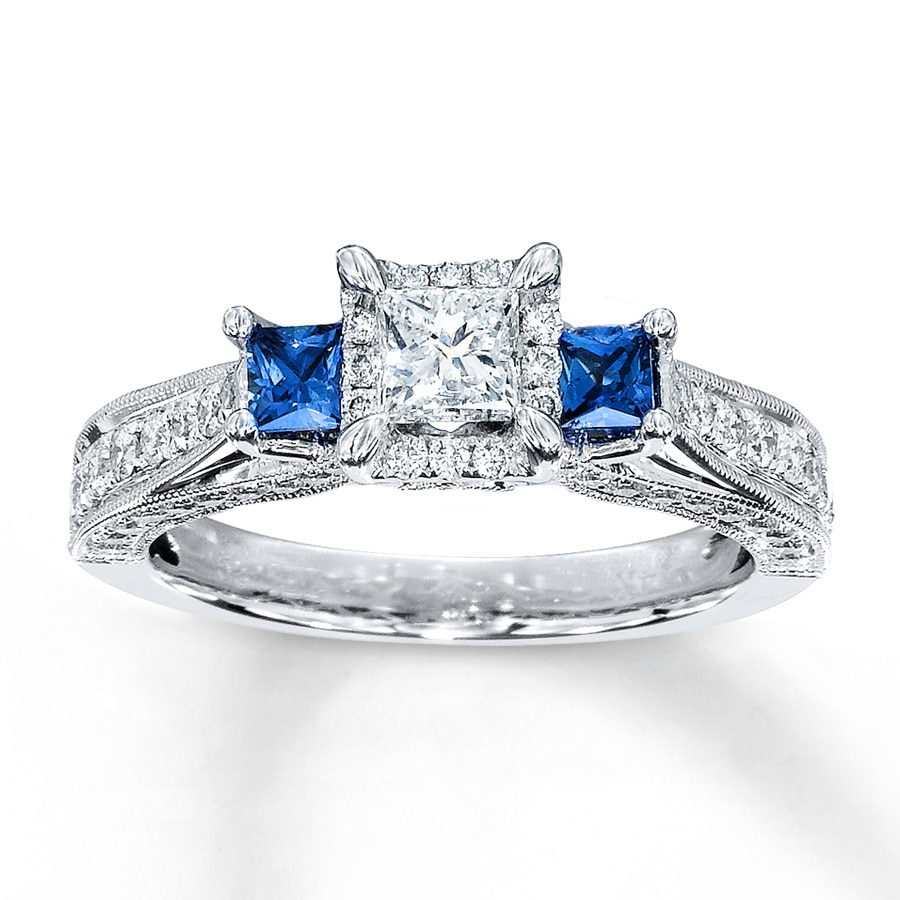 Email DiamondSapphire Ring 1 ct tw Princess-cut 14K White Gold