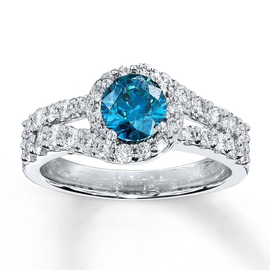 Kay Blue Diamond Ring 1 38 ct tw Roundcut 14K White Gold