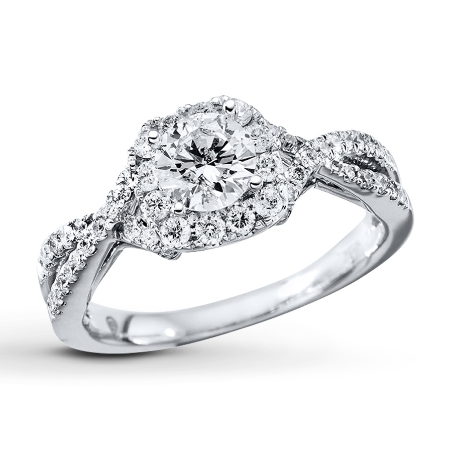 Kay diamond engagement ring 7 8 ct tw round cut 14k for Kay jewelers wedding ring
