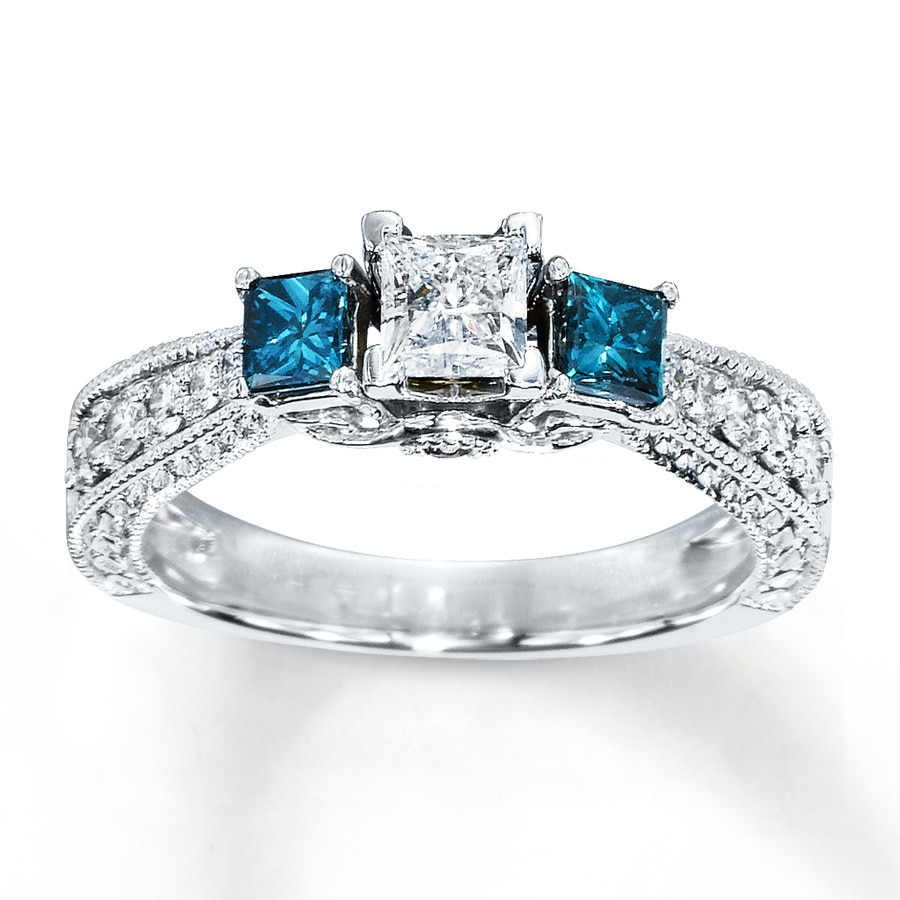 kay - blue diamond ring 1 carat tw princess-cut 14k white gold