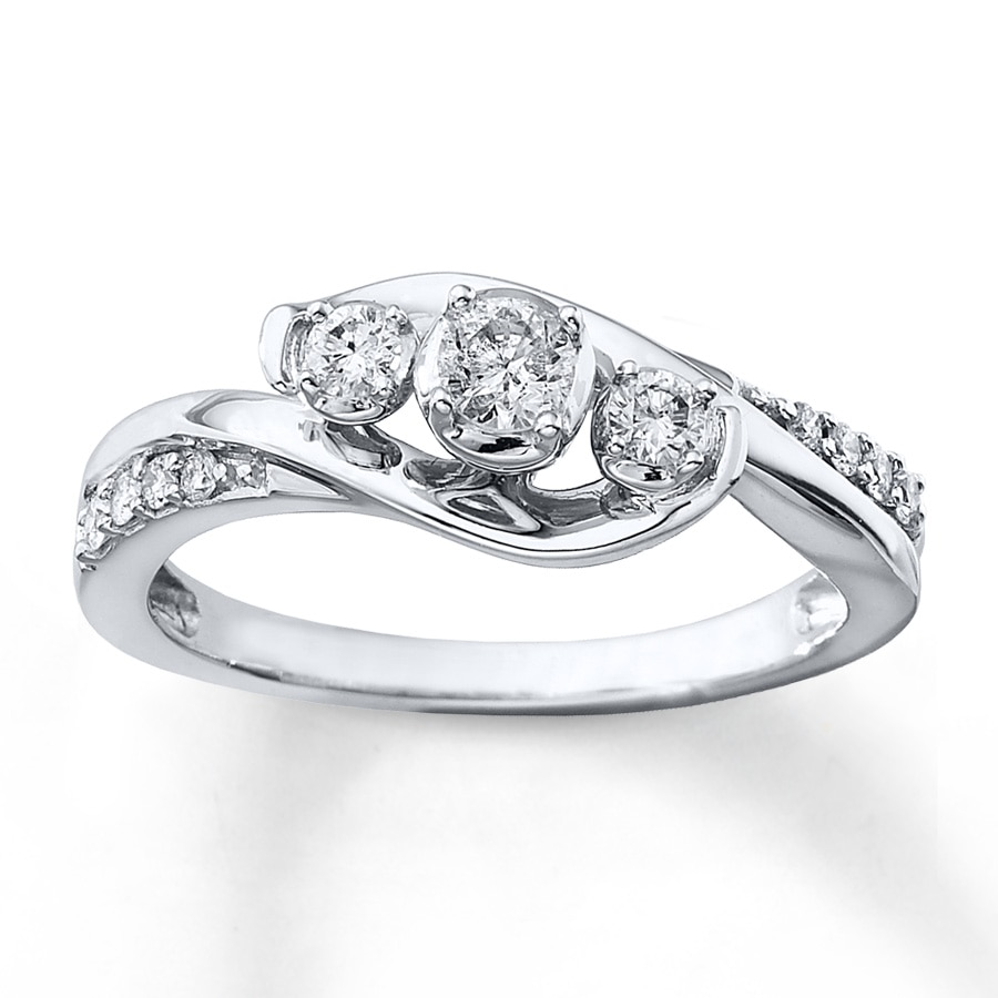 kay - 3-stone diamond ring 1/3 ct tw round-cut 10k white gold