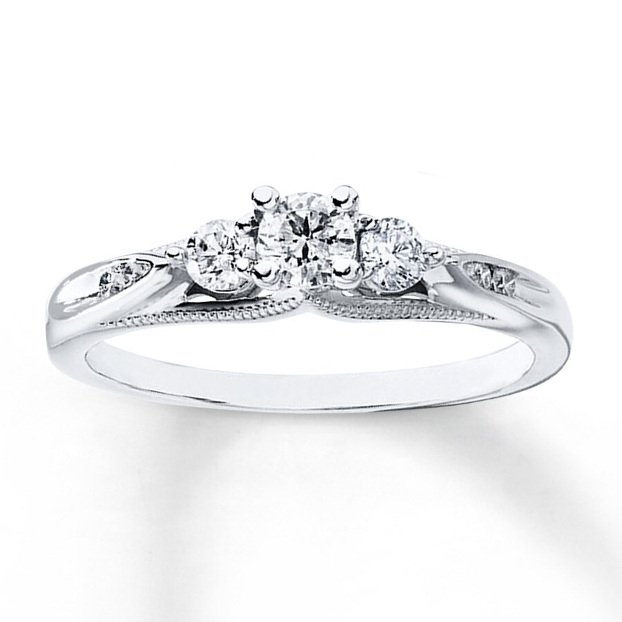 Kay 3 Stone Engagement Ring 3 8 ct tw Diamonds 10K White Gold
