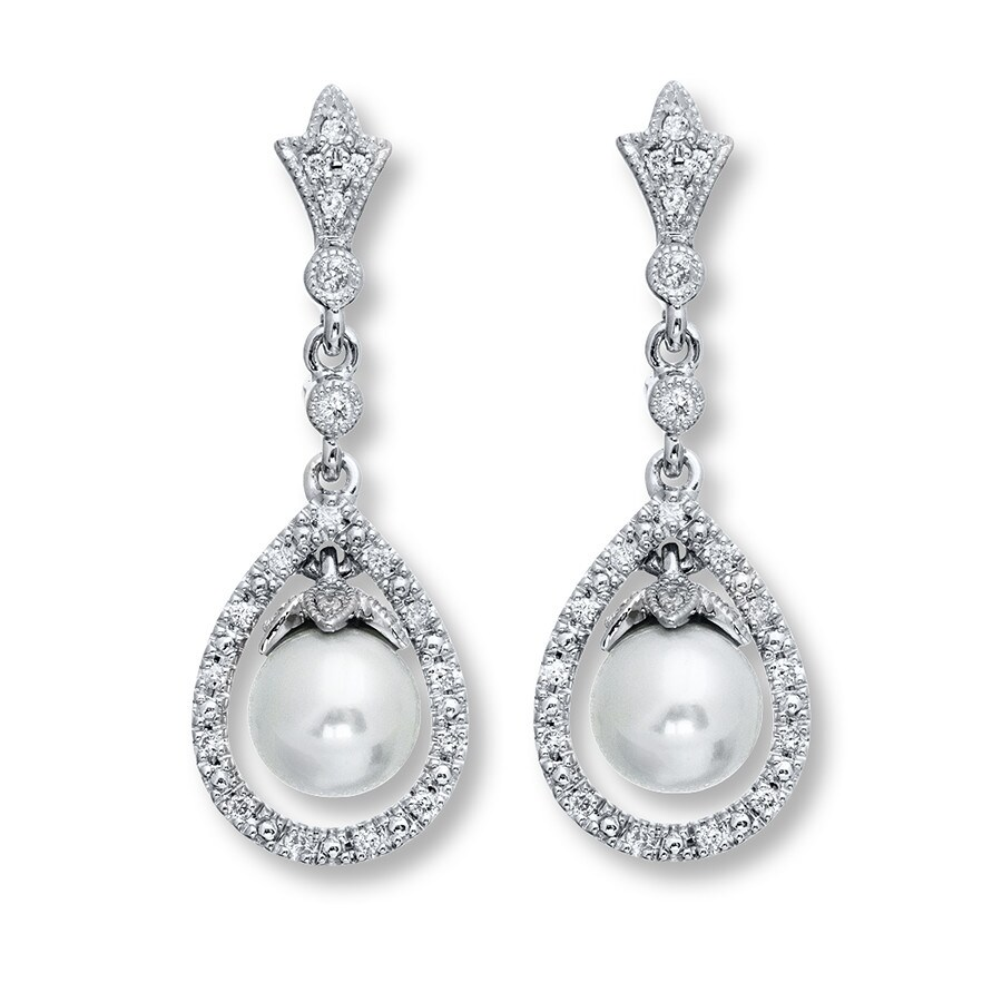 Neil Lane Designs Cultured Pearl Earrings Sterling Silver