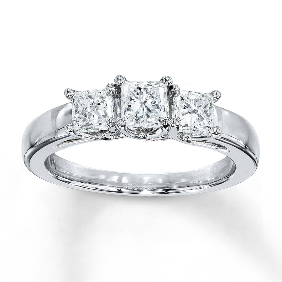 3-Stone Diamond Ring 1 Ct Tw Princess-cut 14K White Gold