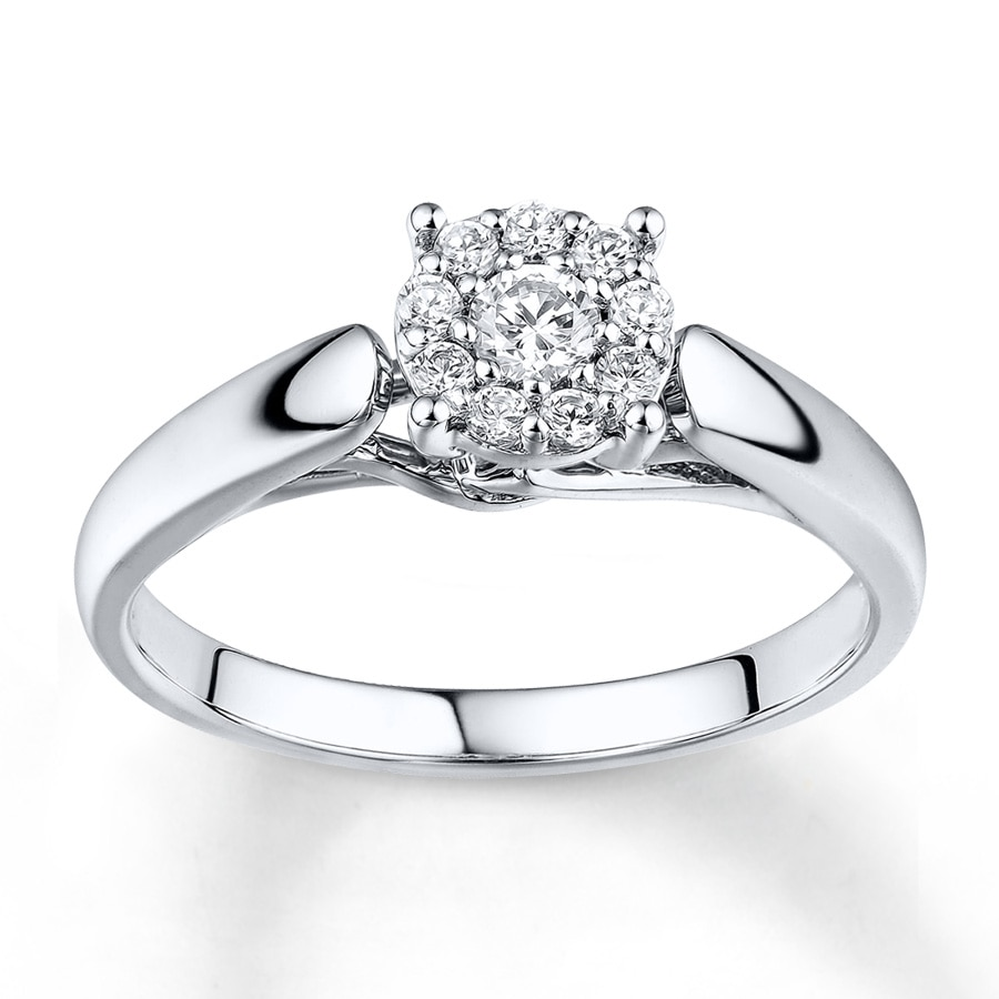 Kay Diamond Engagement Ring 14 ct tw Roundcut 10K White Gold