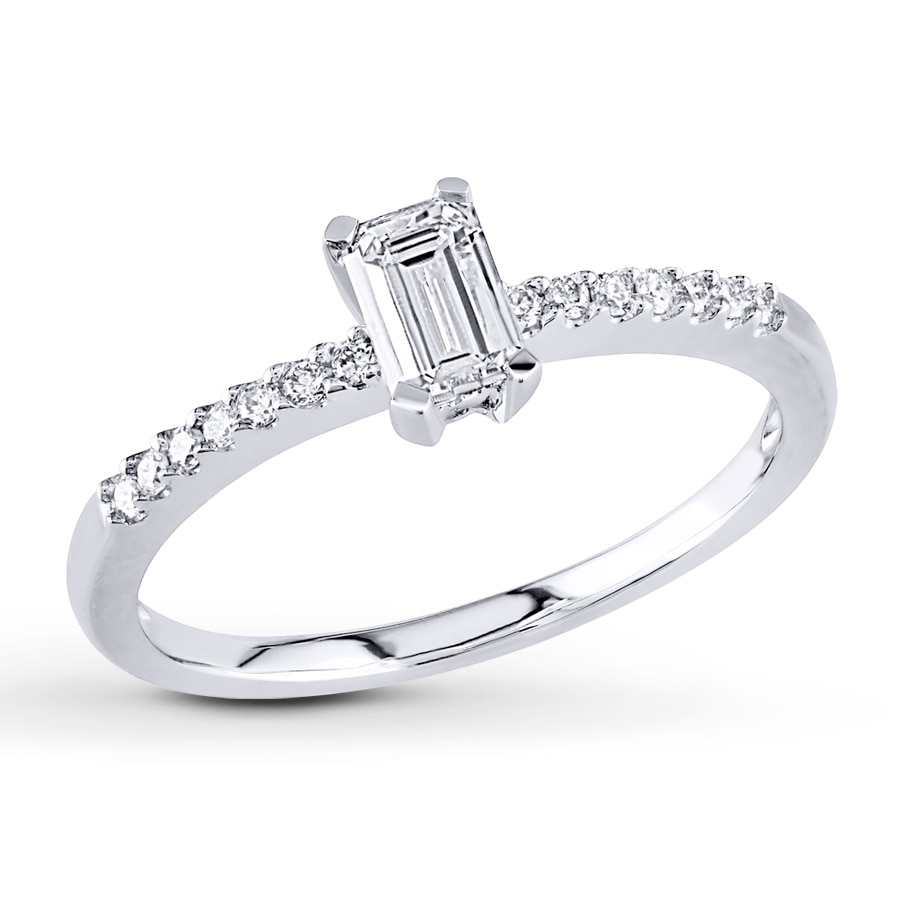 engagement ring 1 2 ct tw emerald cut 14k