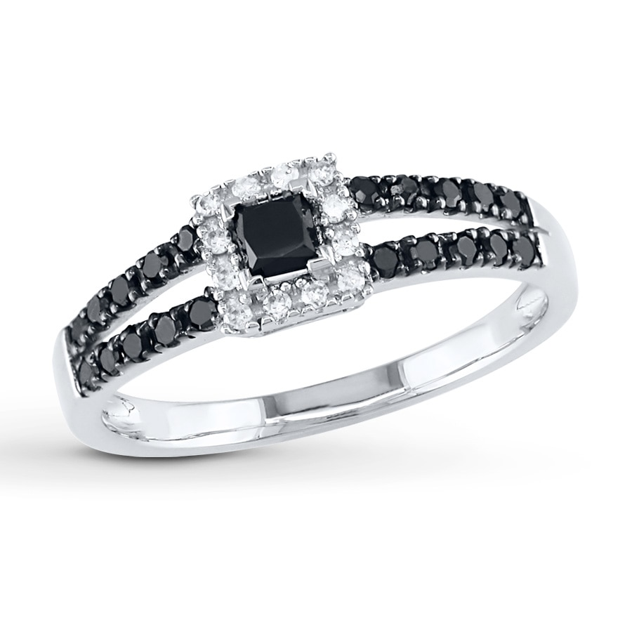 Black Diamond Ring 1 2 Ct Tw Princess Cut 10k White Gold Tap To Expand