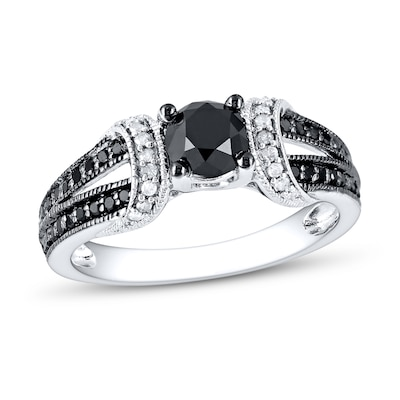 Black/White Diamond Ring 1 ct tw Round-cut 10K White Gold