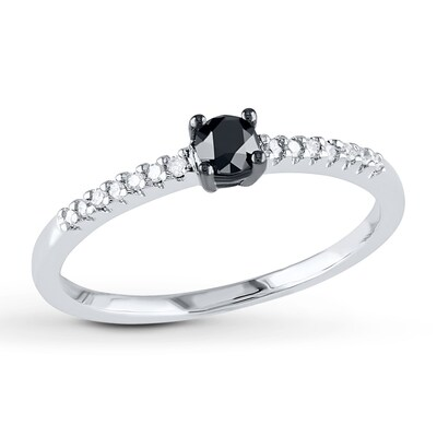 Black/White Diamond Engagement Ring 1/4 ct tw 10K White Gold