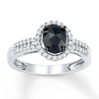 Black Diamond Ring 1 Ct Tw Oval Cut 14k White Gold