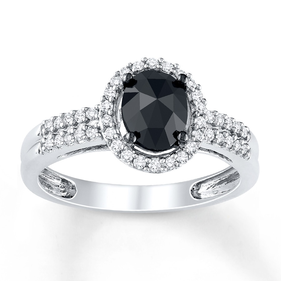 Kay Black Diamond Ring 1 ct tw Oval cut 14K White Gold