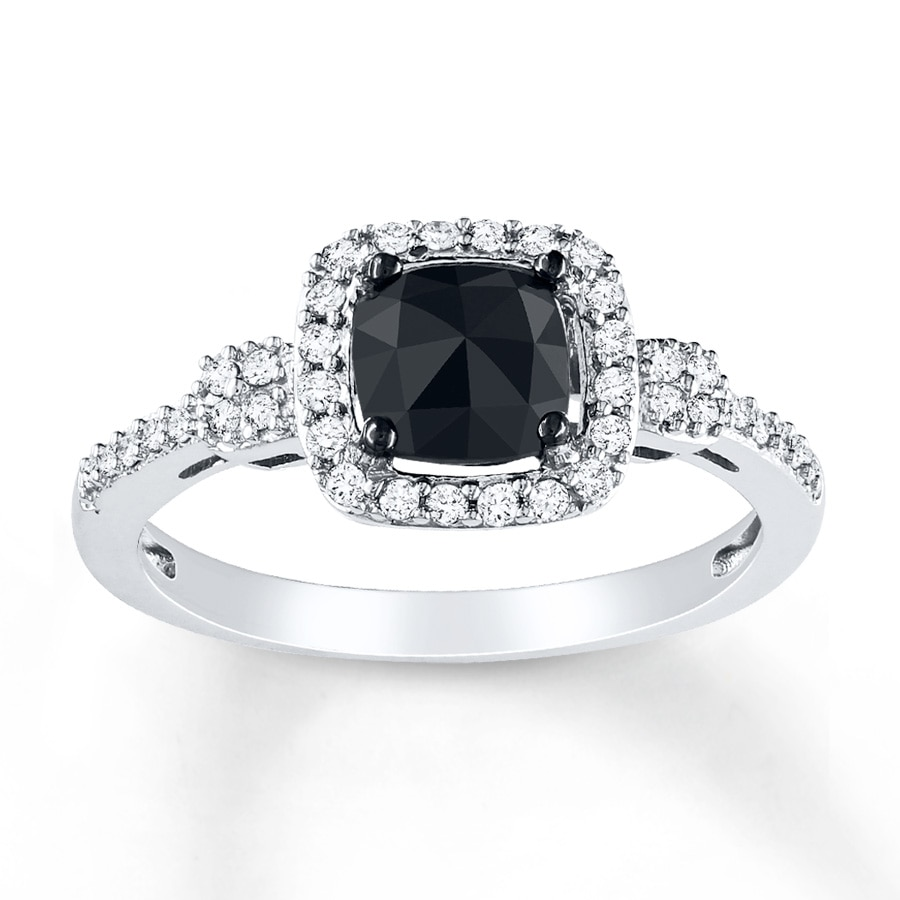 kay black diamond ring 1 ct tw cushion cut 14k white gold