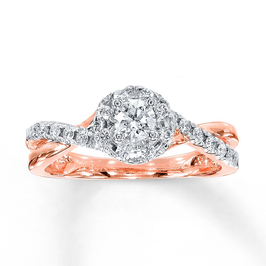 Diamond Engagement Ring 1 2 Carat Tw 10k Rose Gold