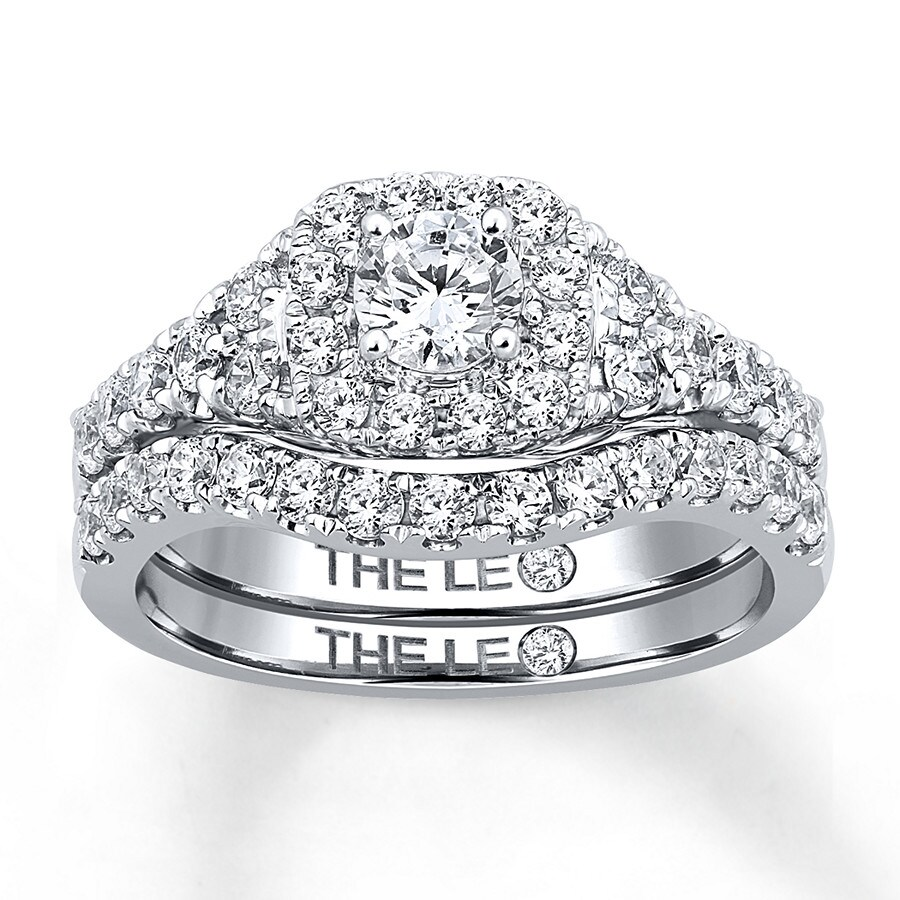 Leo Diamond Bridal Set 1-1/3 Ct Tw Round-cut 14K White