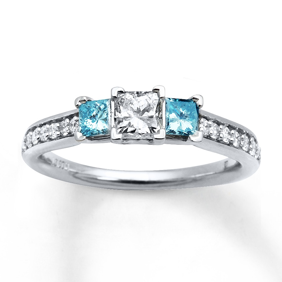 hover to zoom - Blue Wedding Ring