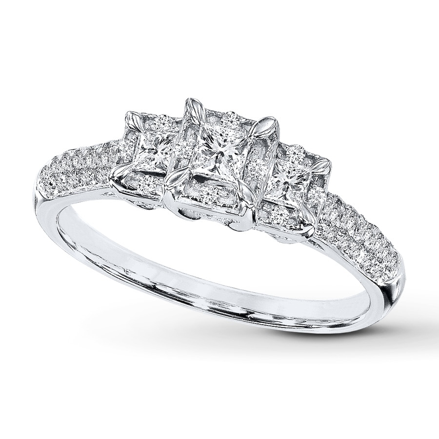 Kay Diamond Engagement Ring 1 2 ct tw Princess cut 10K White Gold