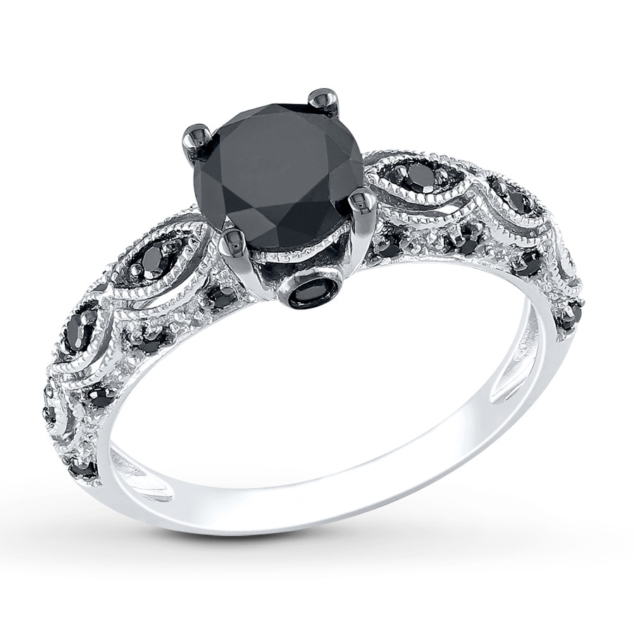 Kay black diamond ring 1 1 4 carats tw 10k white gold for Black wedding rings with diamonds