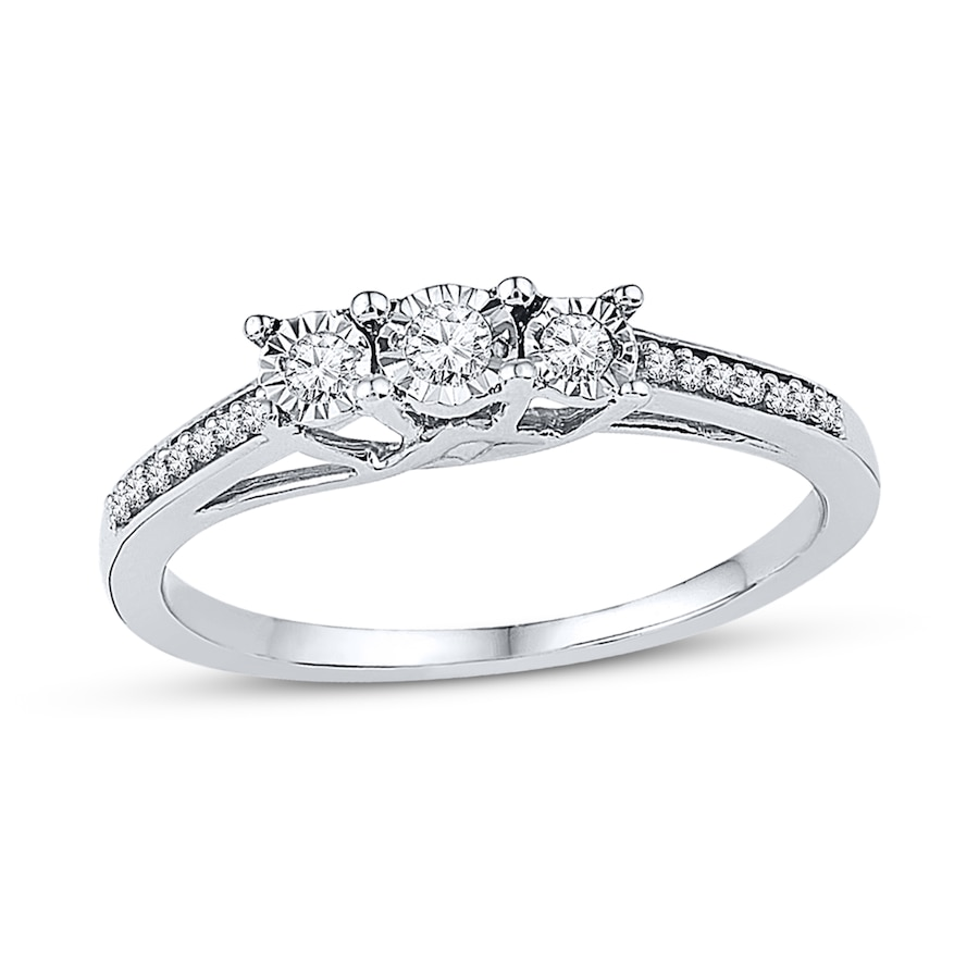 Kay 3Stone Promise Ring 16 ct tw Diamonds Sterling Silver