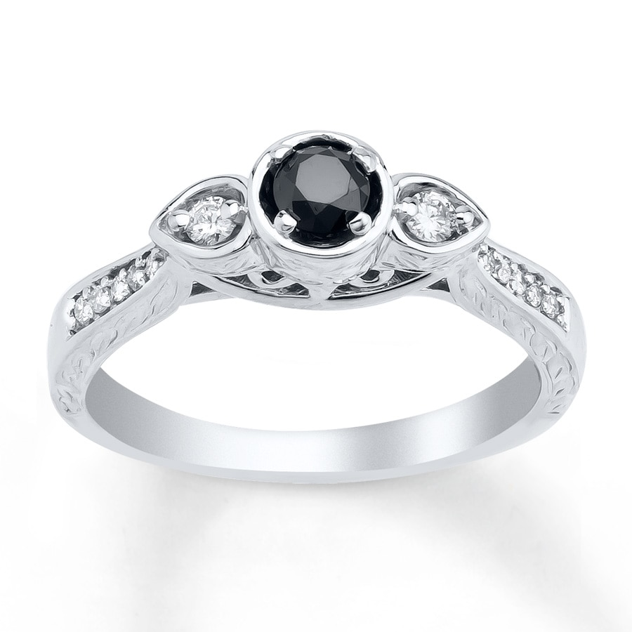 Kay Diamond Engagement Ring 1 4 ct tw Black White 10K White Gold