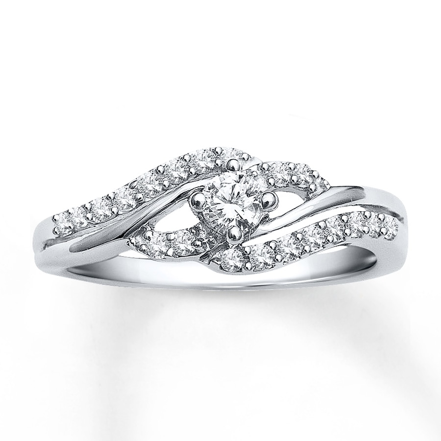 Diamond Engagement Ring 1 3 Carat Tw 10k White Gold
