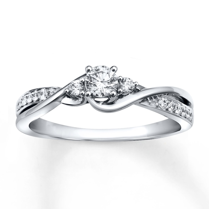 Diamond Engagement Ring 1 3 Ct Tw Round Cut 10k White Gold Round Engagement Engagement Kay