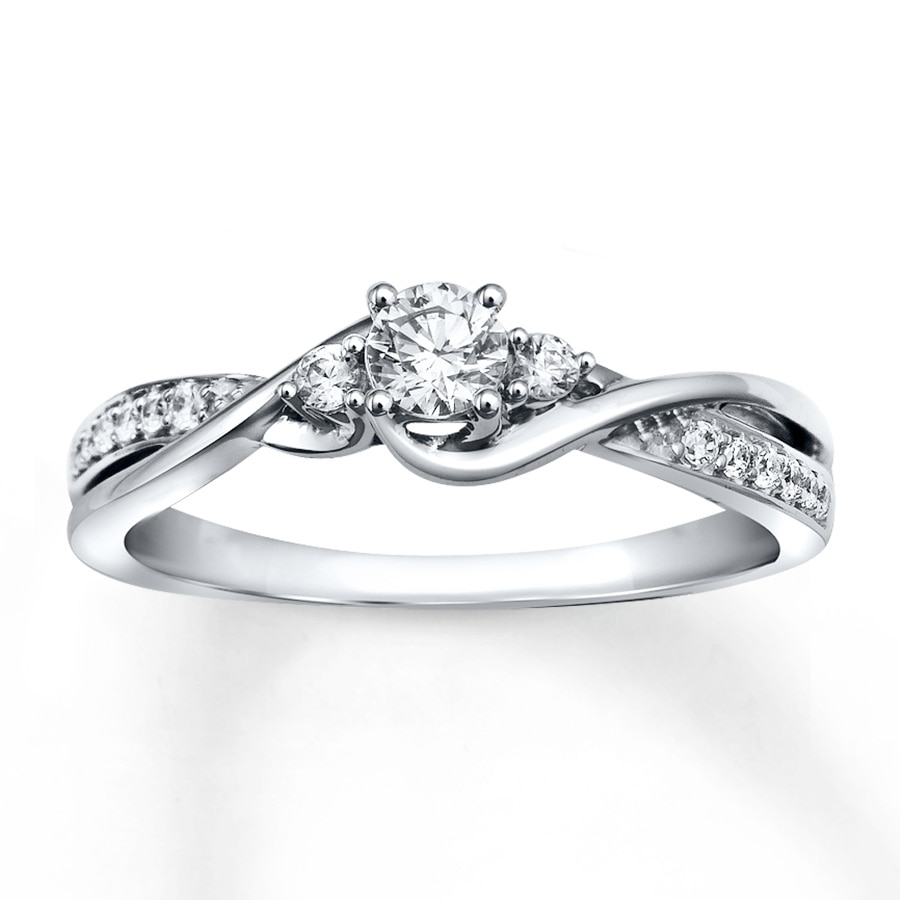 White Gold Bands: Diamond Engagement Ring 1/3 Ct Tw Round-cut 10K White Gold