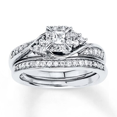 Diamond Bridal Set 3/8 ct tw Princess-cut 10K White Gold