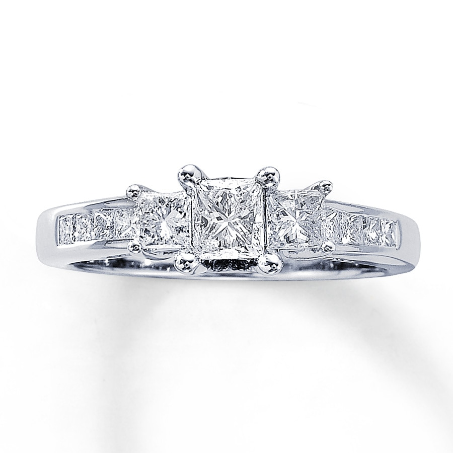 kay - three-stone diamond ring 1 ct tw princess-cut 14k white gold