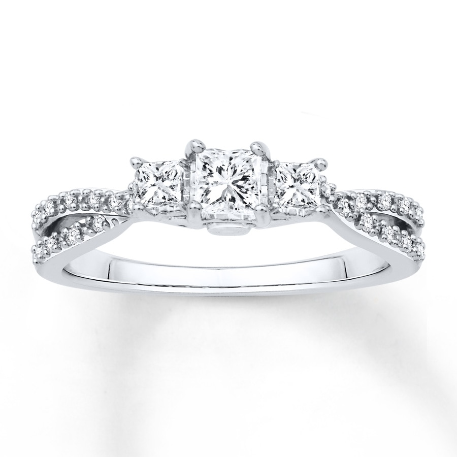 ccb040449 Diamond Engagement Ring 1/2 ct tw Princess-cut 14K White Gold. Tap to expand