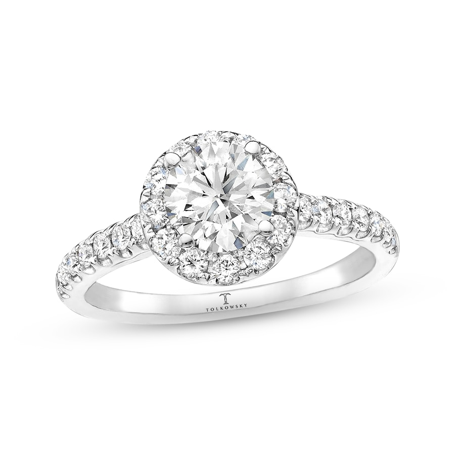34b28325aa92f Tolkowsky Engagement Ring 1-3/8 ct tw Round-cut 14K White Gold ...