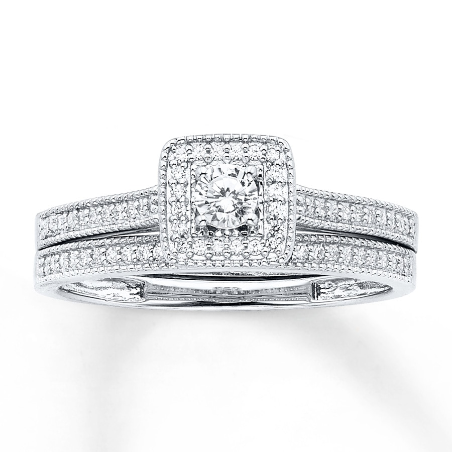 Diamond Bridal Set 1/3 Ct Tw Round-cut 14K White Gold