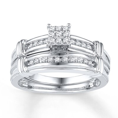 Diamond Bridal Set 1/5 ct tw Round-cut 10K White Gold